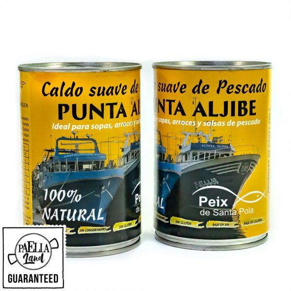 caldo de pescado suave para paella, fideuà, fideos y otros platos hecho por los marineros de Sant Pola