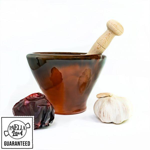 morter i boix alacantí - mortero alicantino para paella - esmaltado marron
