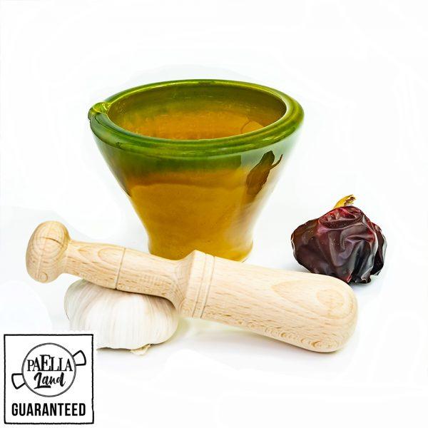 mortero y mazo tradicional para alioli paella y arroces de alicante - hecho a mano